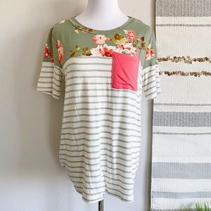Tops - NWT Floral & Stripes Coral Pocket Tee by Haptics